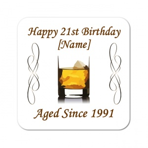 Whiskey Aged Since... Personalised Birthday Coaster