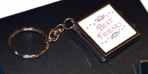 Best Friend Compact Mirror Photo Locket Keychain