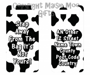 Personalised Cow Print Luggage Tag