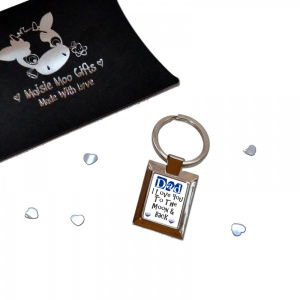 Blue Hearts Dad I Love You To The Moon & Back Metal Keyring In Gift Box