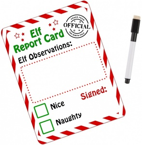 Personalised Christmas Elf Metal Magnetic Report Wipeable Card With Whiteboard Pen