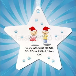 Personalised We Love This Much Christmas Star Decoration