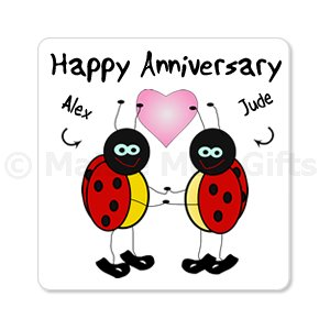 Personalised Happy Anniversary Ladybird Magnet