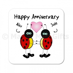Personalised Happy Anniversary Ladybird Coaster