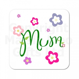 Mum Flowers Wooden Coaster