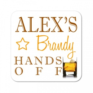 Personalised Brandy Wooden Gift Drinks Coaster