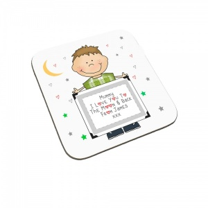 Personalised I Love You To The Moon & Back Child Coaster (Brown Haired Boy)