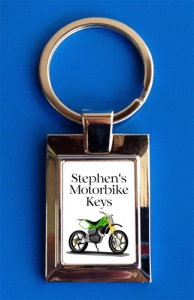 Personalised Green Sports Motorbike Keyring