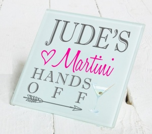 Personalised Martini Glass Gift Drinks Coaster