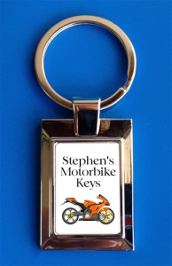 Personalised Orange Motorbike Keyring