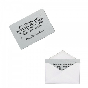 Personalised Friends Like Stars Brushed Steel Silver Style Metal Wallet / Purse Sentimental Card