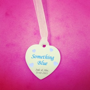 Personalised ''Something Blue'' Wedding Bouquet Hearts Charm