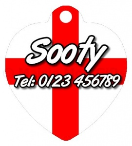 St George's Flag Heart Shaped Personalised Pet Tag