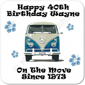 Camper Van (Blue) On The Move Since.. Personalised Birthday Coaster