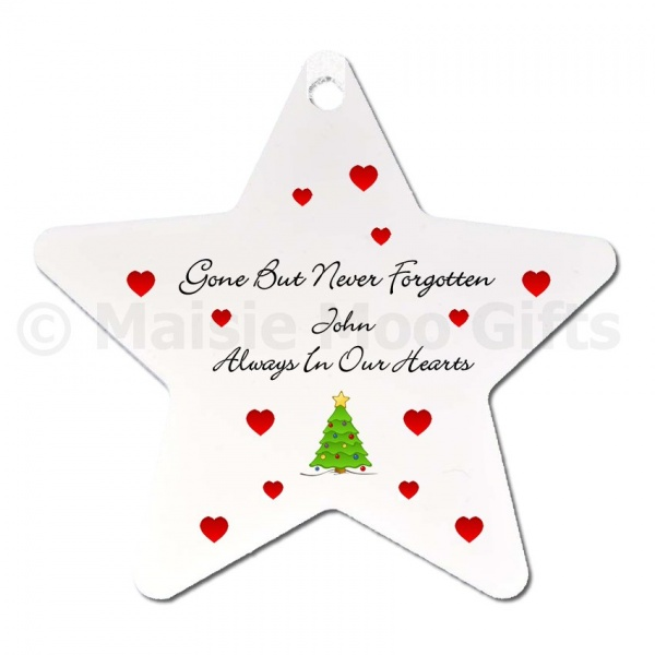 Personalised Christmas Tree Star Ornament  Memorial Christmas