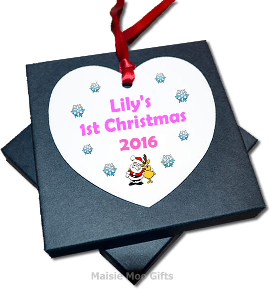 Personalised christmas tree heart metal baby 39 s 1st for Baby s first christmas decoration