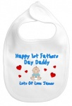 Happy 1st Fathers Day Daddy Personalised Bib