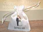Personalised Bride & Groom Wedding Favour Satin Pouches