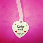 Personalised Wedding Bouquet Hearts Charm