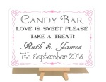 Personalised Swirly Candy Bar Metal Sign With Wooden Easel