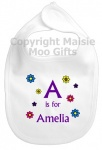 Personalised Alphabet Name Flowers Bib