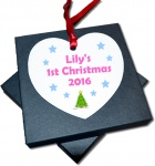 Personalised Christmas Tree Heart Metal Baby's 1st Christmas Decoration