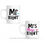 Mr Right & Mrs Always Right Ceramic Gift Mug Set