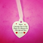 Personalised Memorial Wedding Bouquet Heart Charm