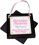 Nanny's Kitchen ~ Help Required ~ Only Small Hands Need Apply Hanging Acrylic Metal Plaque - Gift Boxed