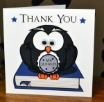 Personalised Blue Owl Teacher / Teaching Assistant Thank You Greeting Card