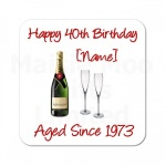 Personalised Champagne Wooden Coaster