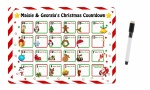 Personalised Christmas Countdown Advent Calendar Metal Magnetic Wipeable Card With Whiteboard Pen