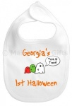 Personalised 1st Halloween Ghost Baby Bib