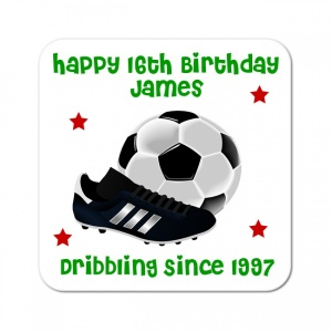 Happy Birthday Football Personalised Gift Coaster