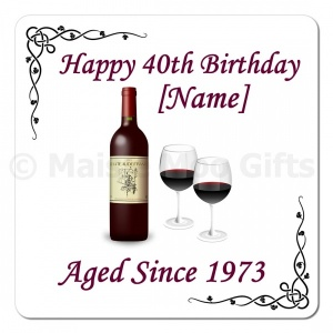 Red Wine Aged Since.. Personalised Birthday Coaster