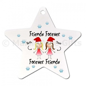 Personalised Friends Forever Star Christmas Decoration