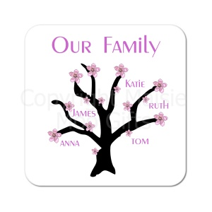 Apple Blossom Family Tree Personalised Coaster