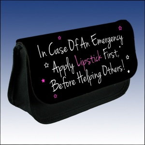 In Case OF An Emergency Apply Lipstick Before Helping Others Makeup Case