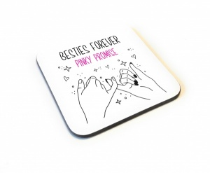 Besties Forever Pinky Promise Wooden Gift Coaster