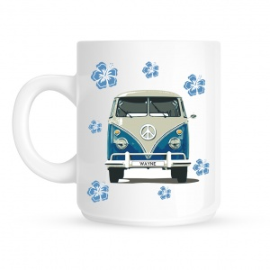 Personalised Camper Van Blue Mug