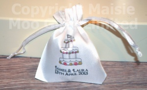 Personalised Wedding Cake Favour Satin Pouches