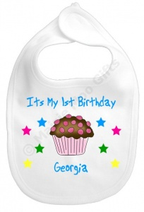 Personalised 1st Birthday Chocolate Baby Bib