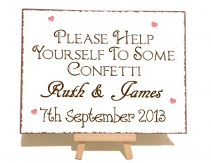 Personalised Confetti Wedding Vintage Shabby Chic Style Metal Sign