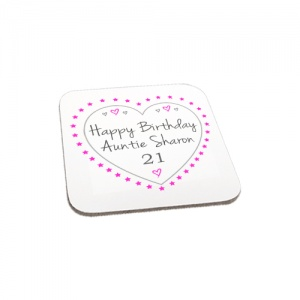 Personalised Happy Birthday Hearts Wooden Gift Coaster