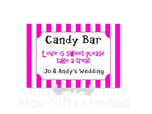 Personalised Candy Bar Striped Metal Table Sign