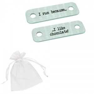 I Run Because I Like Chocolate! Metal Brushed Steel Trainer Runner Shoe Lace Tags