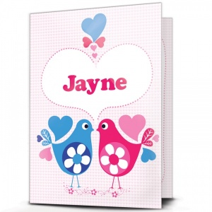 Personalised Love Hearts Bird Card