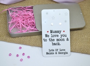 We/I Love You To The Moon & Back (Stars) Personalised Earring Gift Set