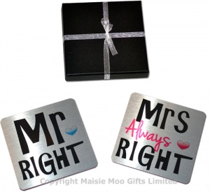 Mr Right & Mrs Always Right Metal Coaster Gift Set