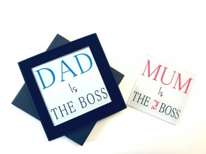 Dad Is The Boss Mum Is The Real Boss Twin Glass Coaster Gift Set